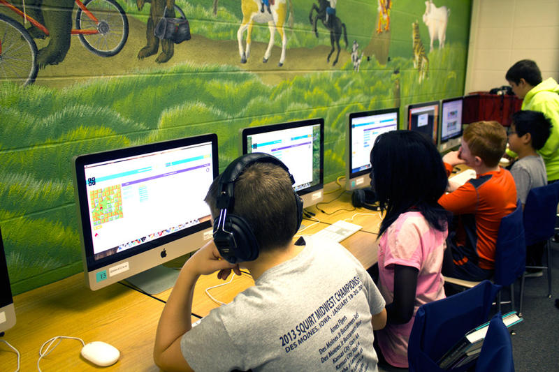 In the computer lab at Abbie Sawyer Elementary in Ames, fifth graders develop coding skills.