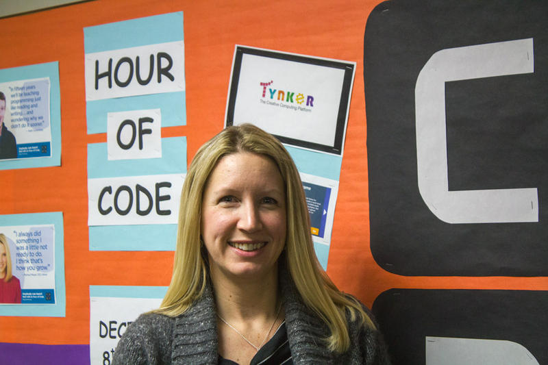 Sawyer teacher Kirsti Minion says when she signed up for Hour of Code she committed to having all students in the school spend at least an hour doing programming.