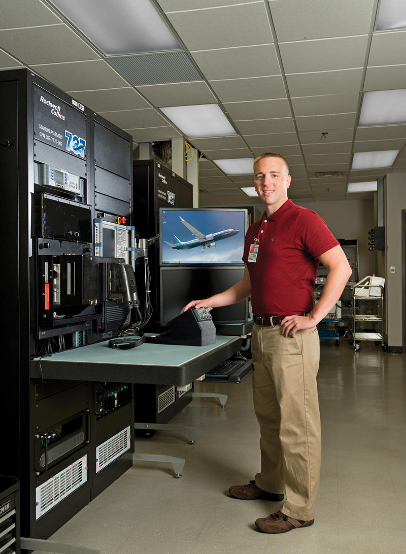 Rayce Evenson is an Air Force veteran who works at Rockwell Collins
