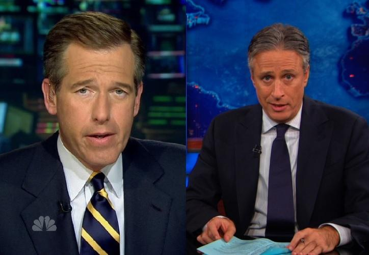Left: Brian Williams (Chung Chu/flickr) Right: Jon Stewart (Comedy Central)