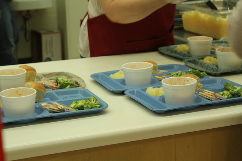 Soup and broccoli on a cafeteria tray in Northeast Iowa reflect the additional vegetables required by the Healthy Hunger-Free Kids Act.