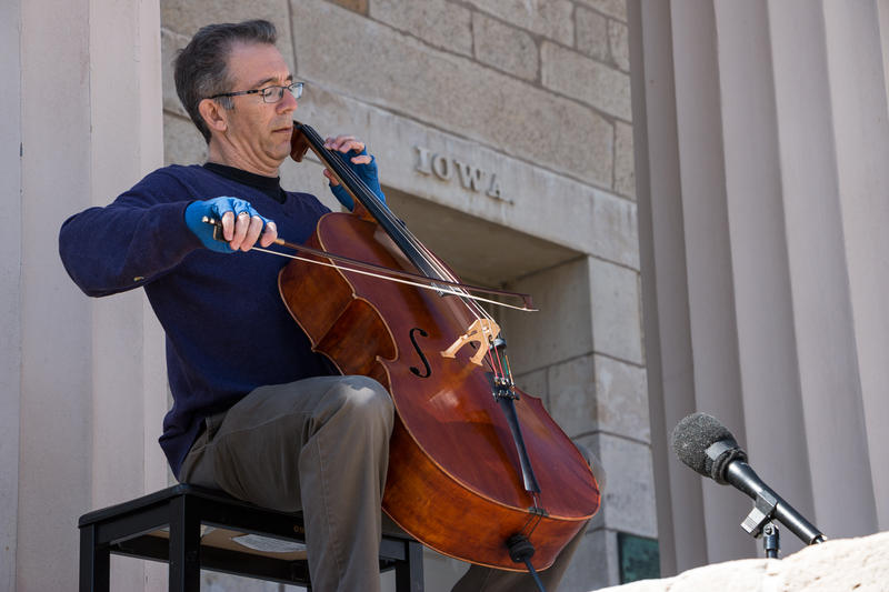 Anthony Arnone plays Bach in an unannounced performance on the steps of Iowa's old Capitol building, to celebrate J.S. Bach's 330th birthday.