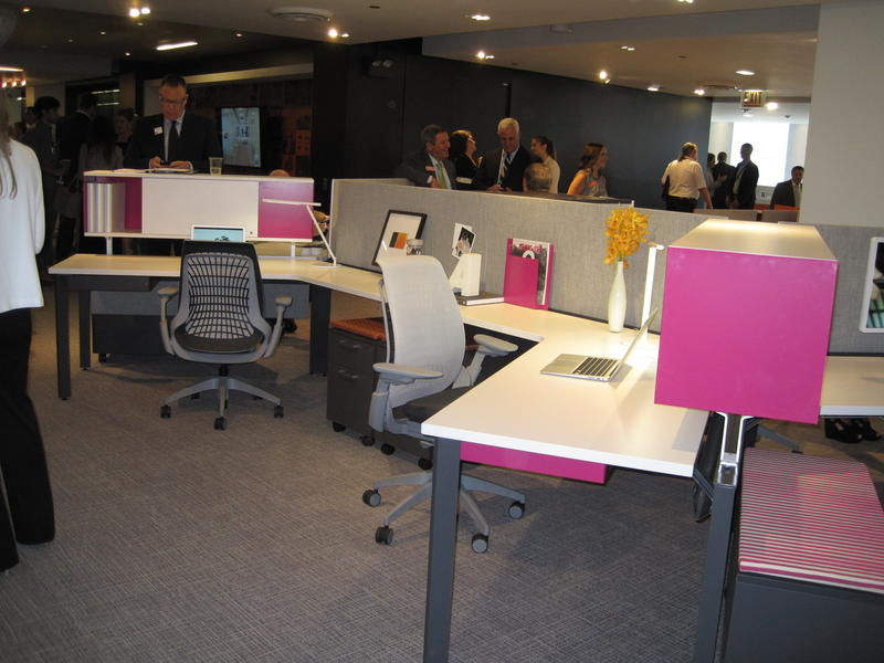 A display of Allsteel manufactured office furniture at NeoCon 2014. The Muscatine-based company is currently in the midst of a wage discrimination lawsuit.