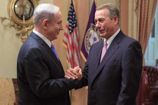 Speaker John Boehner greets Netanyahu before his controversial Iran speech