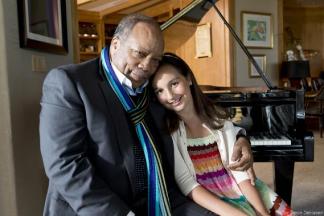 13-year old piano prodigy Emily Bear with her mentor, jazz legend Quincy Jones