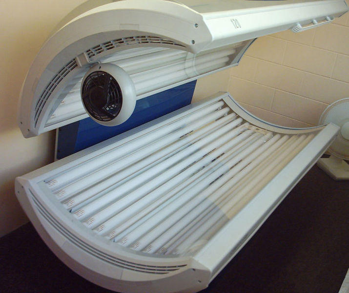 A Sunvision Elite tanning bed switched off.