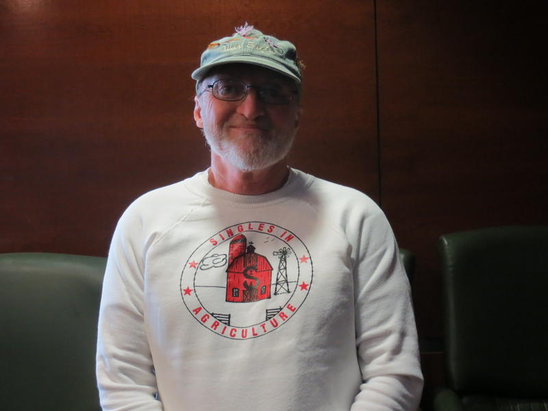 Kenny Schoborg of New Providence proudly wears his Singles in Agriculture T-shirt