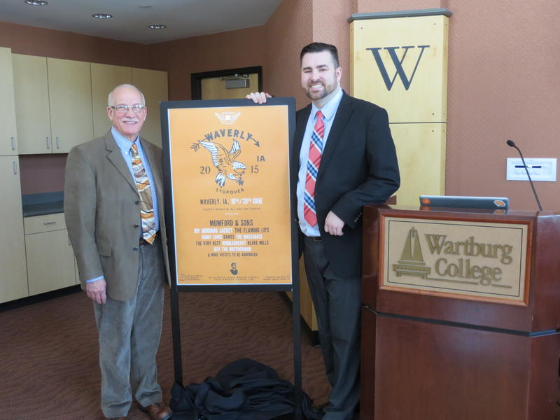 Waverly Mayor Charles Infelt and Wartburg's Graham Garner unveil the poster for the Genlemen of the Road Tour