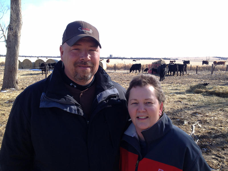 Tracy Dethlefs and her husband, Shawn Rademacher, raise Angus cattle near Loup City, Nebraska. Sometimes after travelling for cancer treatments they did chores in the dark.