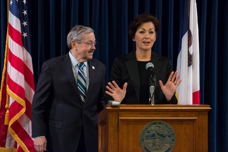 Gov. Branstad (left) and Lt. Gov. Kim Reynolds in 2015.