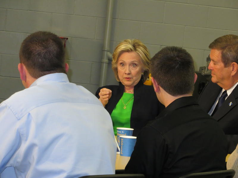 Hillary Clinton talks with students and teachers in Monticello, Iowa.