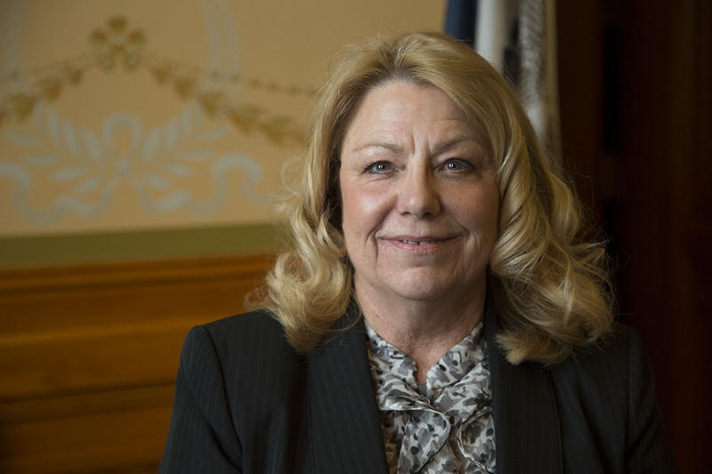Senate President Pam Jochum (D-Dubuque) in her statehouse office.