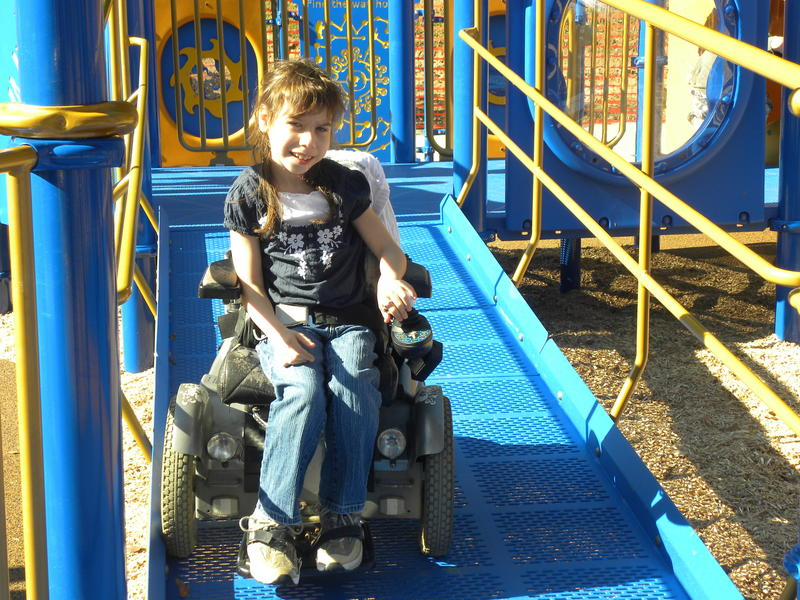Most inclusive playgrounds have ramps or transfer stations to ensure children of all abilities can use the playground.