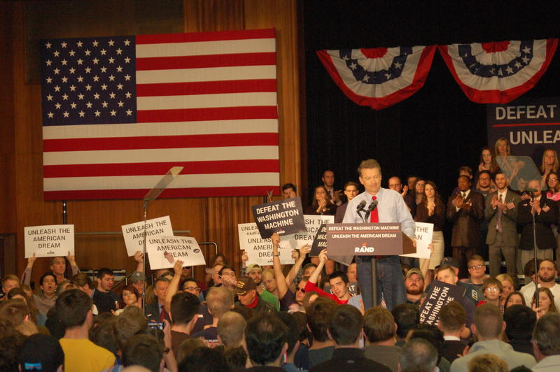 Kentucky Senator and GOP Presidential Hopeful Rand Paul at the Iowa Memorial Union in Iowa City