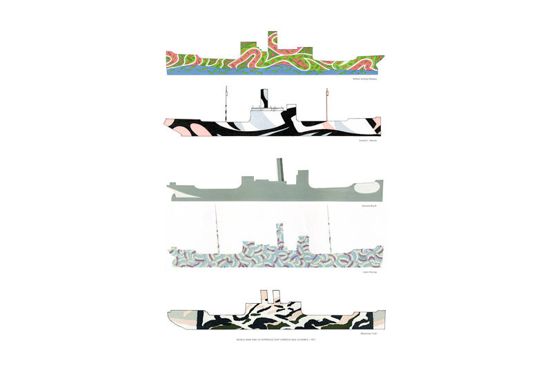 Poster showing five early camo designs