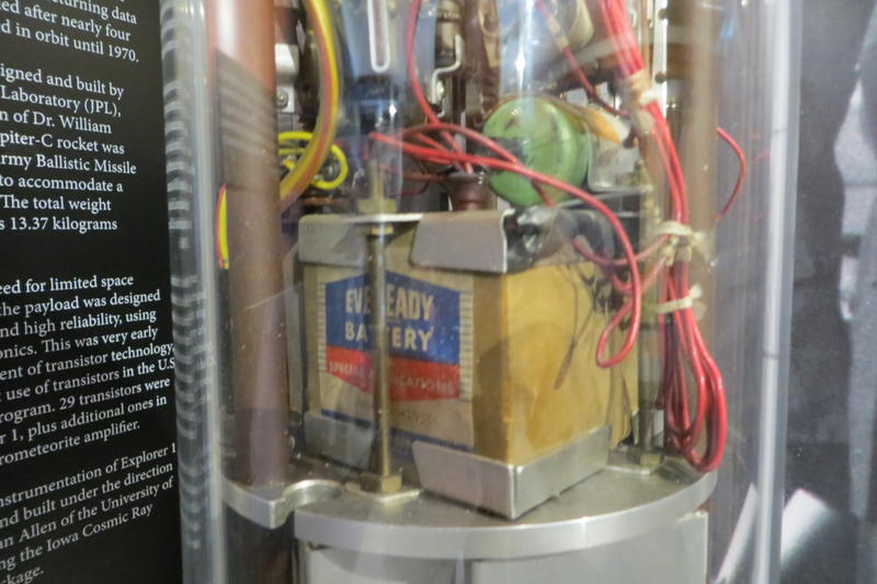 a vintage battery on display as a part of an exhibit in the mobile museum