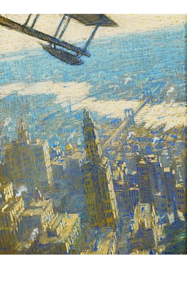 Warner's aerial painting over New York City, circa 1919