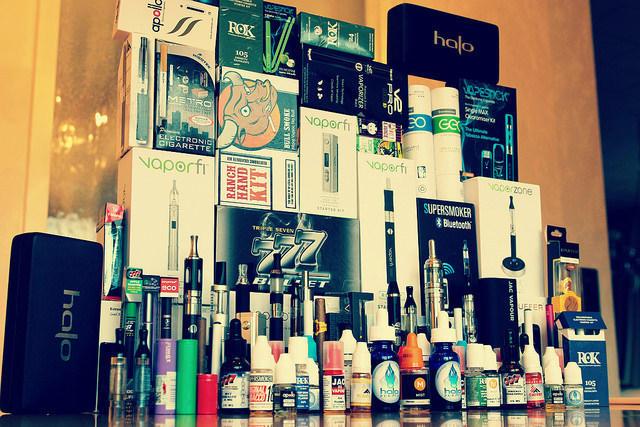 A variety of e-cigarettes and e-cigarette liquids