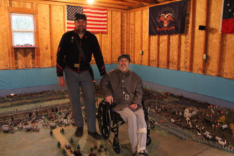 Eric (left) and Leonard Myszka on their 650 square foot diorama of the surrender at Appomattox