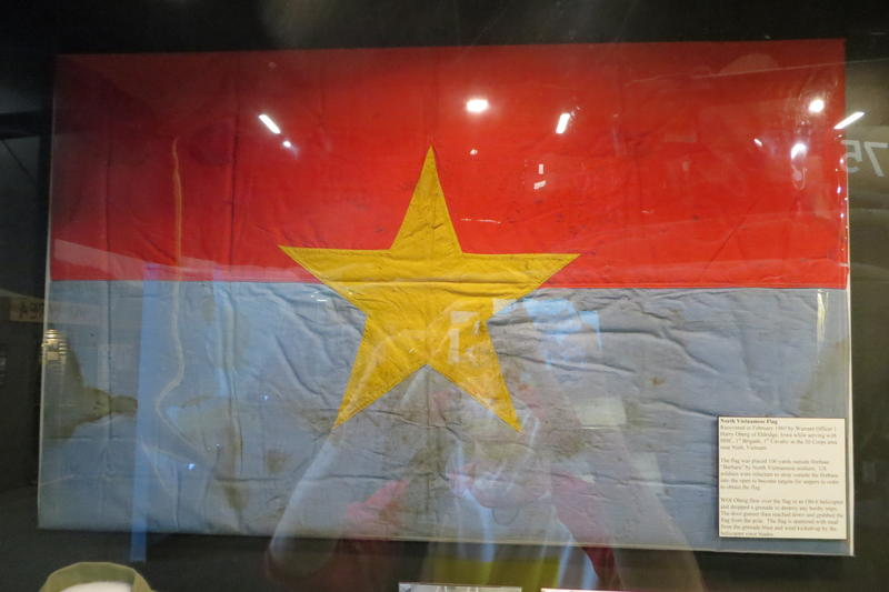 A captured North Vietnamese flag