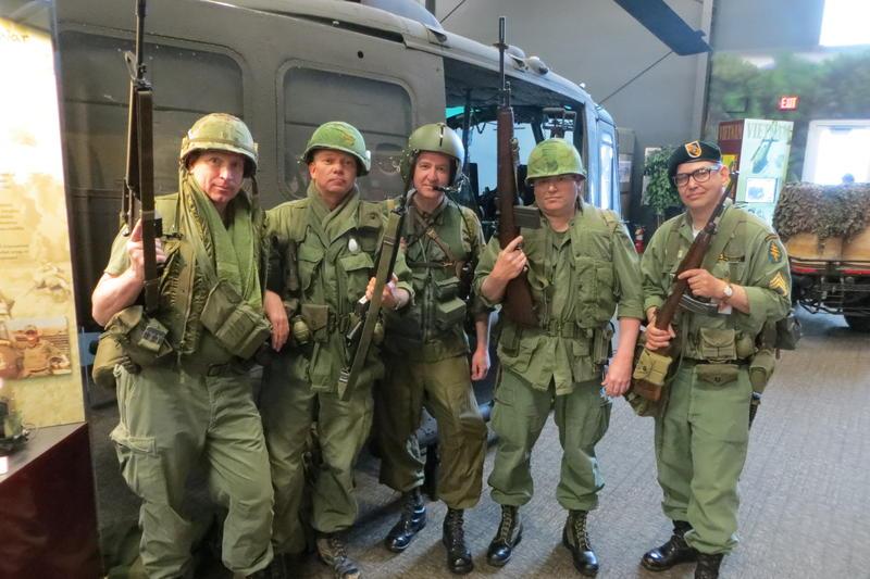 Vietnam War reenactors and a Huey helicopter