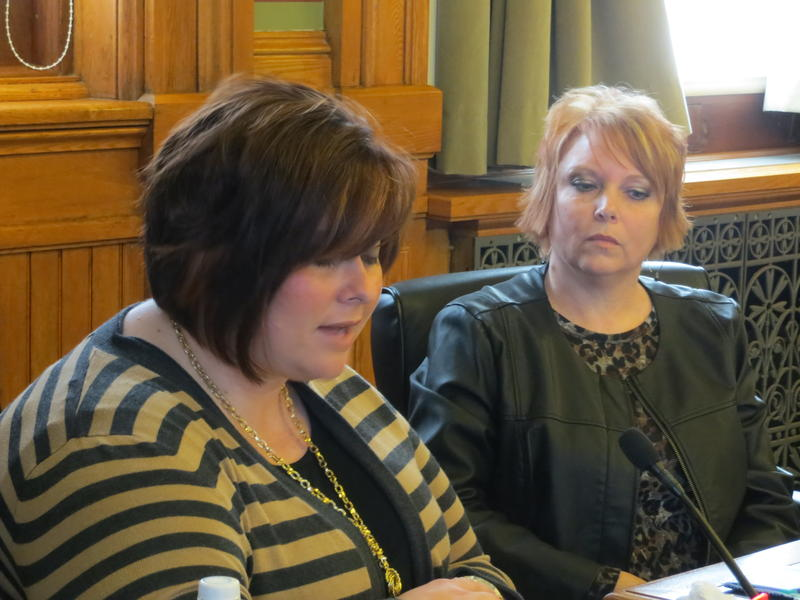 Anna Short (left) a laid-off  Drug Abuse Counselor from Mt. Pleasant and Cindy Fedler (right) a laid-off nurse from Mount Pleasant testify before the Iowa Senate Oversight Committee about the demand for in-patient psychiatric services