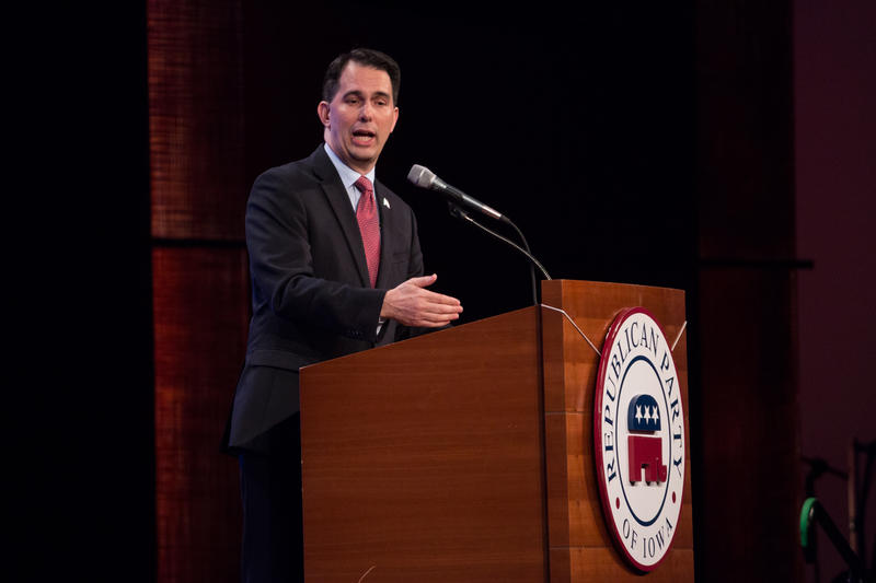 Wisconsin Governor Scott Walker speaks at the Lincoln Dinner as a prospective presidential candidate for the Republican party.