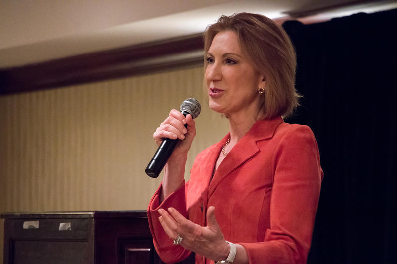 Carly Fiorina speaks at a Dallas County Republican event in the West Des Moines Marriott