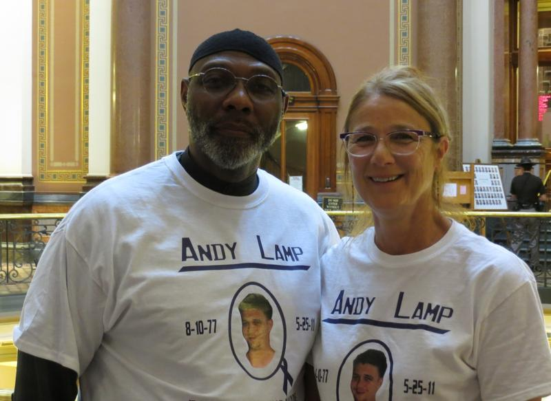 Representative Ako Abdul-Samad (D-Des Moines) and Kim Brown.   Brown's son Andy Lamp  died of an accidental overdose of heroin in 2011