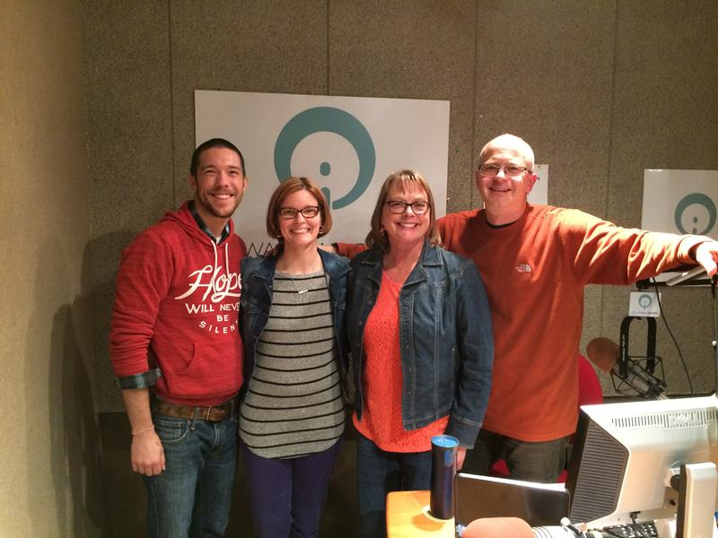 Joseph Sorensen, Brooke Easton and Joan Becker in Iowa Public Radio's studio with host Ben Kieffer