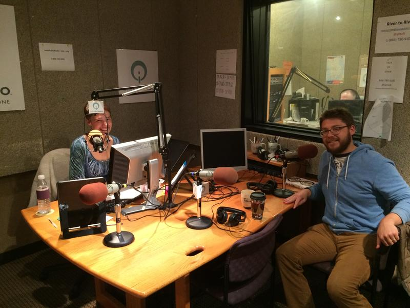 host Charity Nebbe in Iowa Public Radio's Iowa City studio with Lucas Mann