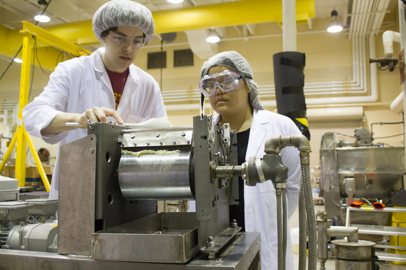 Students John Mettler and Sarah Chan spoon cauliflower puree onto a drum dryer at a commercial-scale food processing plant on the Iowa State University campus. The dehydrated vegetable worked better than the puree in making a gluten-free pizza crust.