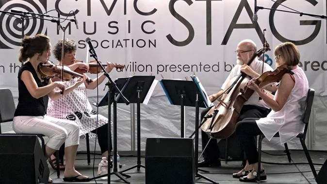 Members of the Belin Quartet performing in a summer concert.