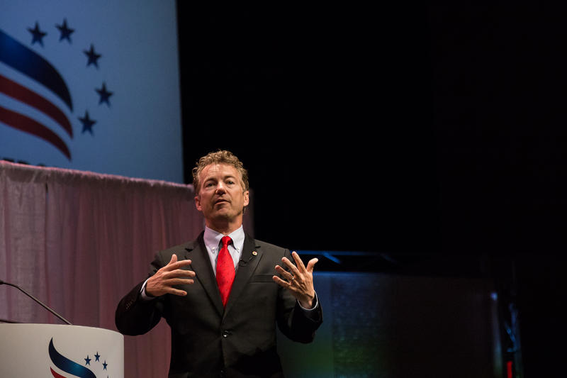 U.S. Senator Rand Paul, a Kentucky Republican, addresses the crowd at an Iowa Faith and Freedom event on April 25, 2015 in Waukee, Iowa