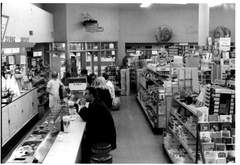 A photo of Sutter's soda fountain at Jefferson and Third store in 1967.