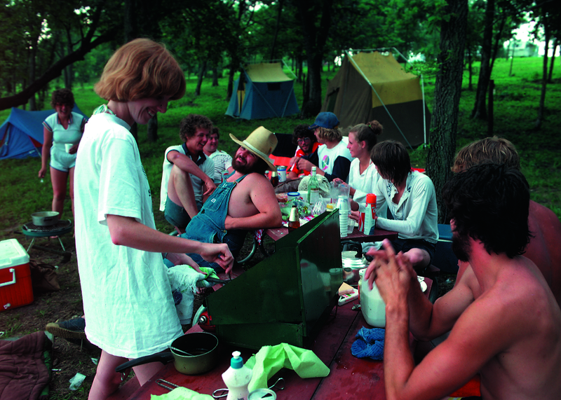 People having fun at the camping and picnic area of Lake Icaria in the Walters Creek Watershed project in Adams County.