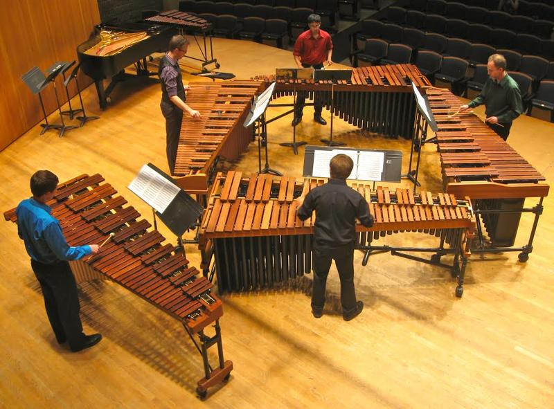 Participants in the Heartland Marimba Festival and Academy rehearse a chamber piece together.
