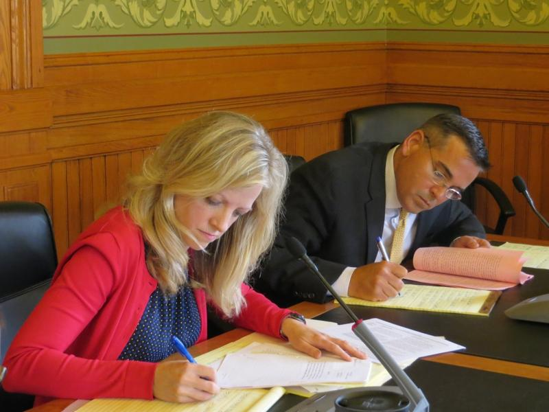 Senator Janet Peterson (D-Des Moines) and Senator Matt McCoy (D-Des Moines