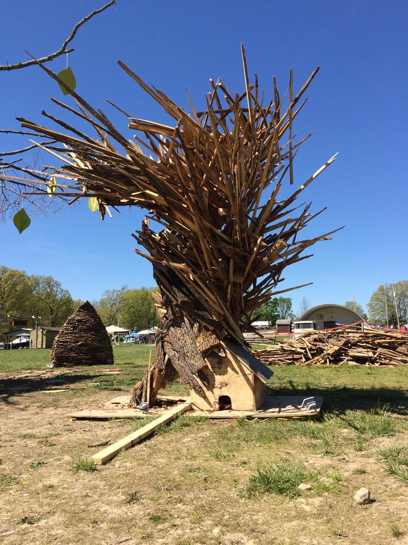 Part of the effigy, a tornado made from donated wood