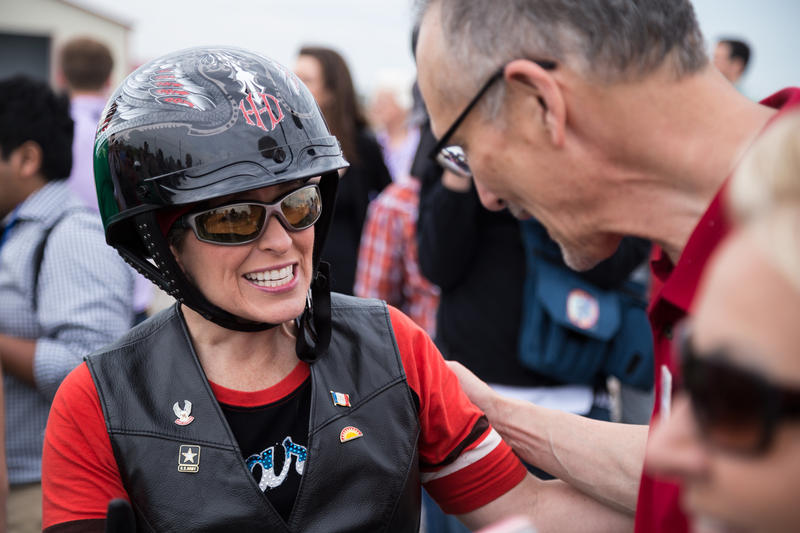 Senator Joni Ernst arrives in Boone, Iowa after a 38-mile motorcycle ride.