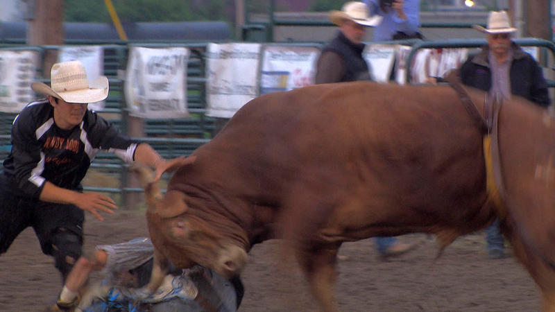 "As a bullfighter you have to be ready to take a hit. ""If I have to take a hookin', I have to take a hookin'. That's what the job is,"" said rodeo bullfighter Rowdy Moon."