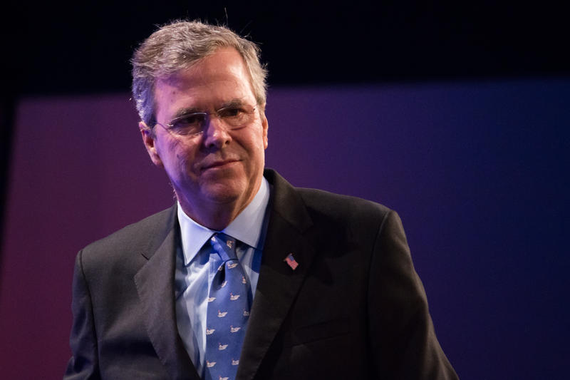 Former Florida Governor Jeb Bush speaks at the Iowa GOP's Lincoln Dinner, May 16, 2015
