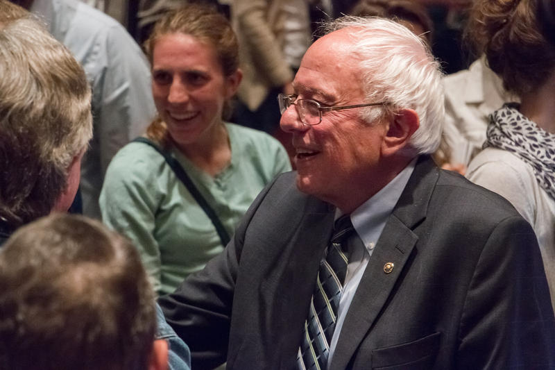 Vermont Senator Bernie Sanders campaigns at Drake University.