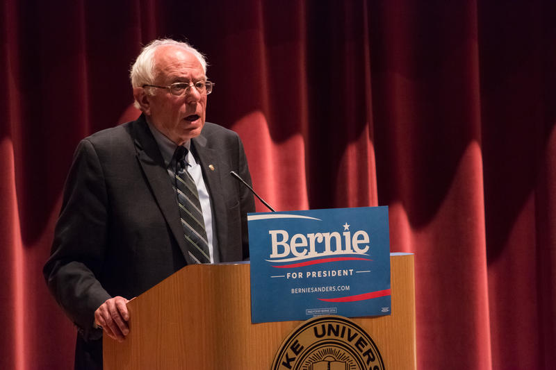U.S. Senator Bernie Sanders, a Vermont Democrat, speaks to a crowd at Drake University
