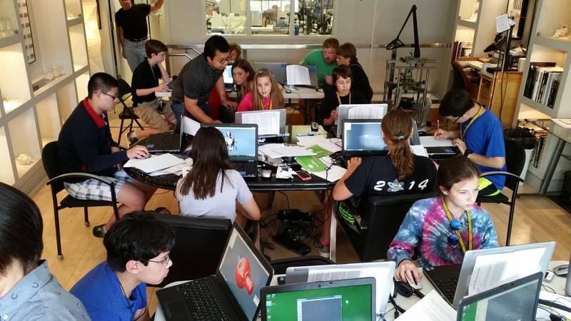 The group of students works in M.C. Ginsberg Objects of Art, where they have access to 3-D printers and Computer Aided Design.