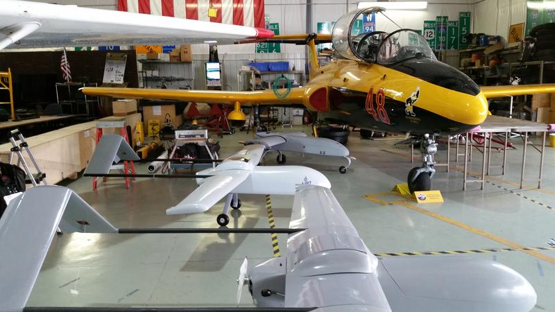 An L29 and some unmanned aerial vehicles inside the UI's Operator Performance Laboratory