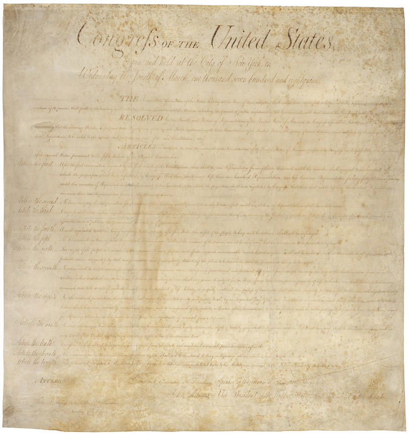 The Bill of Rights contains the first 10 Amendents of the U.S. Constiution.