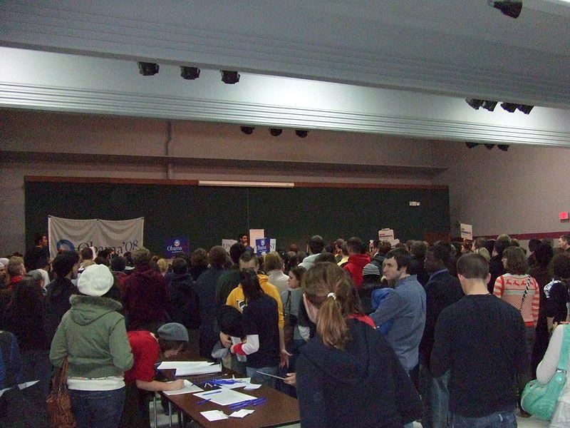 Democratic caucusgoers gather in a precinct caucus in Iowa City, Iowa January 3, 2008.