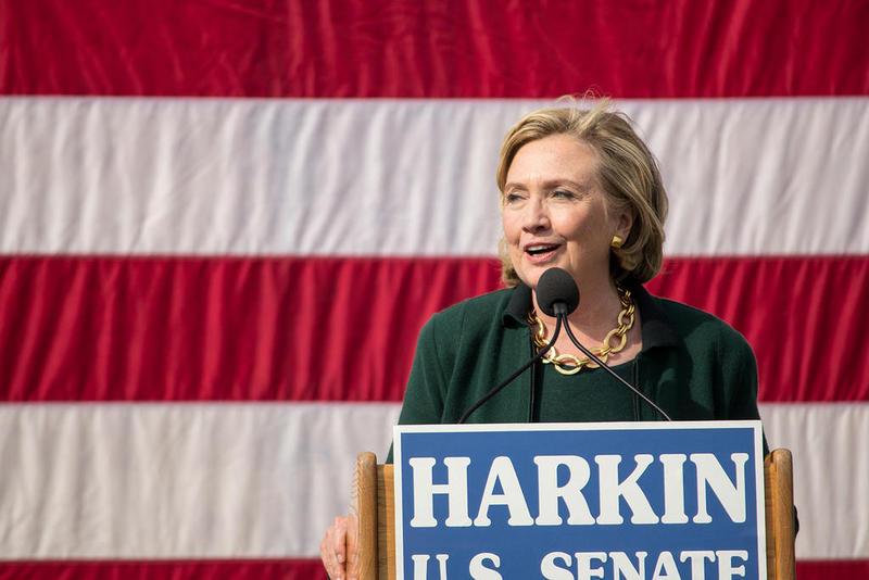 Former Secretary of State Hillary Clinton speaks at the final Harkin Steak Fry in September of 2014