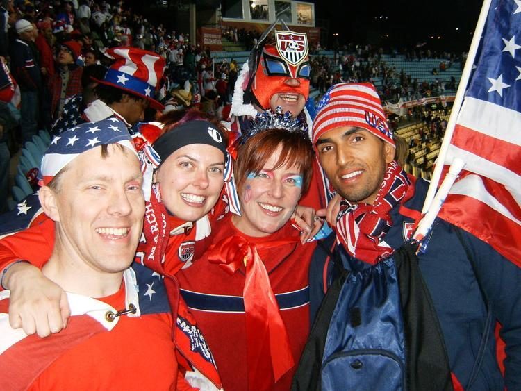 Tanya Keith and friends at a US soccer team game.